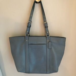 coach F13098 light blue tote leather bag